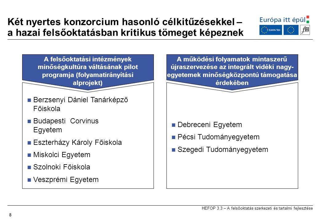 8 Két nyertes konzorcium hasonló célkitűzésekkel – a hazai felsőoktatásban kritikus tömeget képeznek A felsőoktatási intézmények minőségkultúra váltásának pilot programja (folyamatirányítási alprojekt)  Berzsenyi Dániel Tanárképző Főiskola  Budapesti Corvinus Egyetem  Eszterházy Károly Főiskola  Miskolci Egyetem  Szolnoki Főiskola  Veszprémi Egyetem A működési folyamatok mintaszerű újraszervezése az integrált vidéki nagy- egyetemek minőségközpontú támogatása érdekében  Debreceni Egyetem  Pécsi Tudományegyetem  Szegedi Tudományegyetem