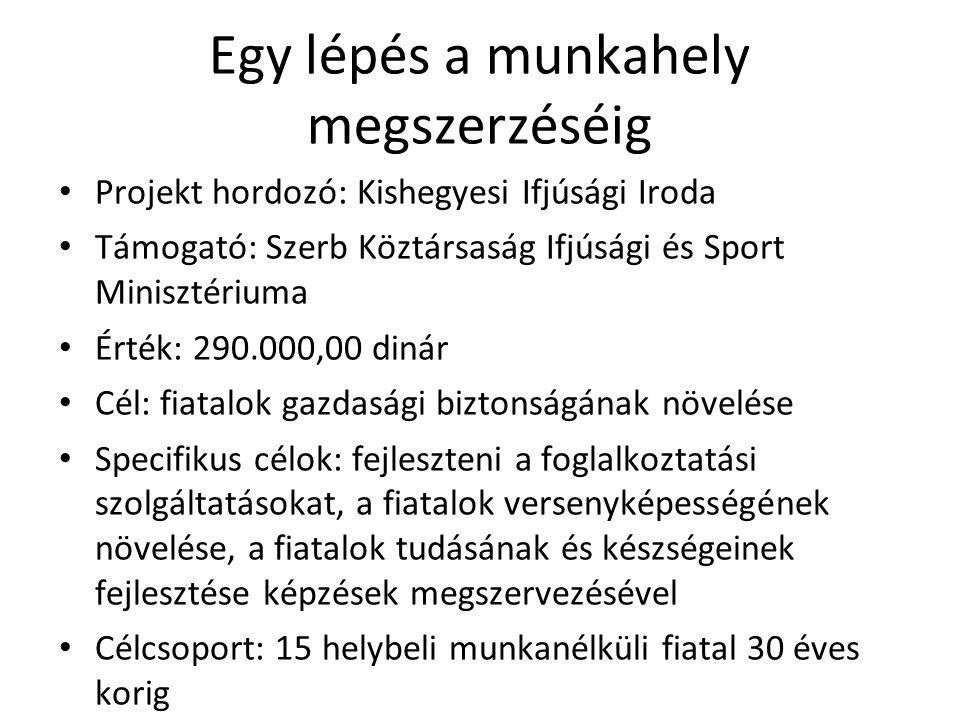 Egy lépés a munkahely megszerzéséig • Projekt hordozó: Kishegyesi Ifjúsági Iroda • Támogató: Szerb Köztársaság Ifjúsági és Sport Minisztériuma • Érték: 290.000,00 dinár • Cél: fiatalok gazdasági biztonságának növelése • Specifikus célok: fejleszteni a foglalkoztatási szolgáltatásokat, a fiatalok versenyképességének növelése, a fiatalok tudásának és készségeinek fejlesztése képzések megszervezésével • Célcsoport: 15 helybeli munkanélküli fiatal 30 éves korig