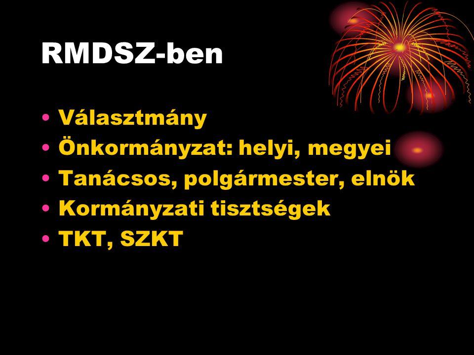 RMDSZ-ben •Választmány •Önkormányzat: helyi, megyei •Tanácsos, polgármester, elnök •Kormányzati tisztségek •TKT, SZKT