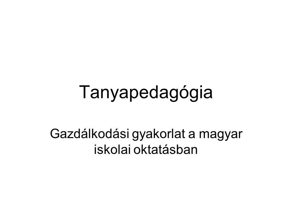Tanyapedagógia Gazdálkodási gyakorlat a magyar iskolai oktatásban