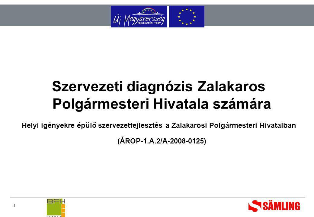 1 Szervezeti diagnózis Zalakaros Polgármesteri Hivatala számára Helyi igényekre épülő szervezetfejlesztés a Zalakarosi Polgármesteri Hivatalban (ÁROP-1.A.2/A-2008-0125)