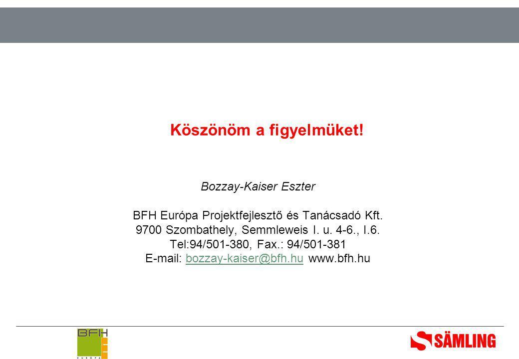 Köszönöm a figyelmüket. Bozzay-Kaiser Eszter BFH Európa Projektfejlesztő és Tanácsadó Kft.