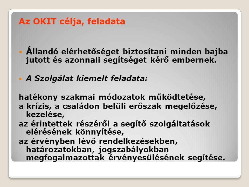Az OKIT célja, feladata  Á llandó elérhetőséget biztosítani minden bajba jutott és azonnali segítséget kérő embernek.