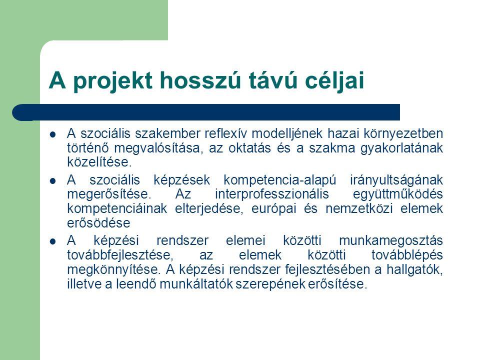 A projekt rövid távú céljai  A kiválasztott képzési elemek továbbfejlesztése, új képzési elemek létrehozása, azokban korszerű tanulásirányítási módszerek, valamint adekvát készségfejlesztő módszerek alkalmazása.