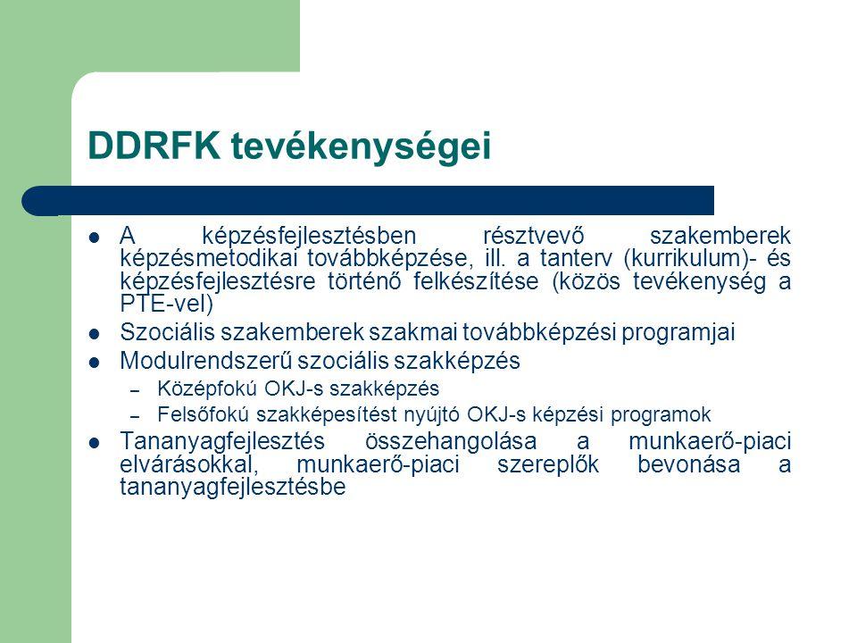 DDRFK tevékenységei  A képzésfejlesztésben résztvevő szakemberek képzésmetodikai továbbképzése, ill.