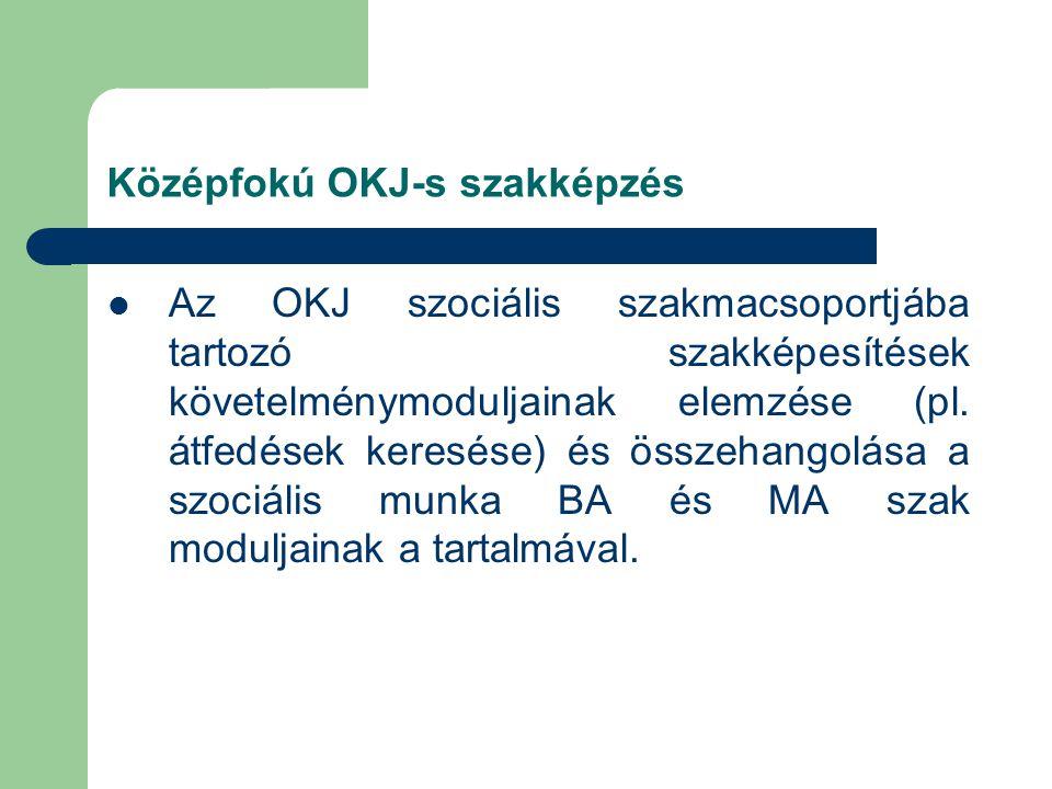 Középfokú OKJ-s szakképzés  Az OKJ szociális szakmacsoportjába tartozó szakképesítések követelménymoduljainak elemzése (pl.