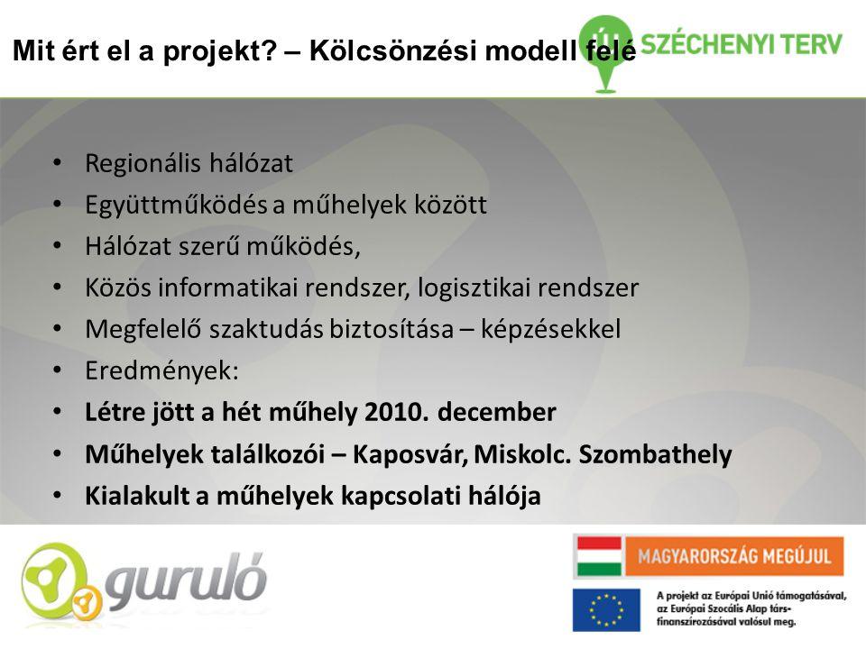 Mit ért el a projekt? – Kölcsönzési modell felé • Regionális hálózat • Együttműködés a műhelyek között • Hálózat szerű működés, • Közös informatikai r
