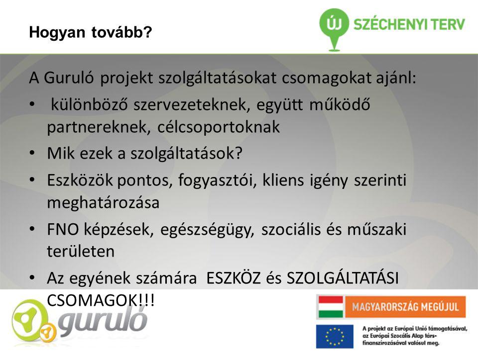 Hogyan tovább? A Guruló projekt szolgáltatásokat csomagokat ajánl: • különböző szervezeteknek, együtt működő partnereknek, célcsoportoknak • Mik ezek