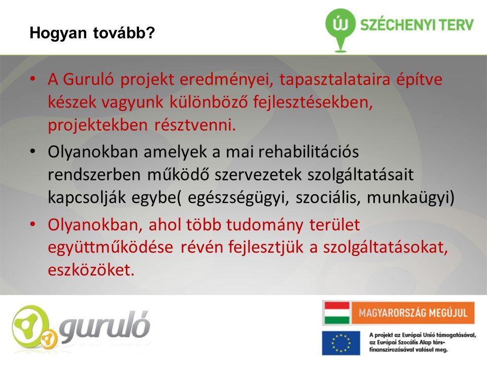 Hogyan tovább? • A Guruló projekt eredményei, tapasztalataira építve készek vagyunk különböző fejlesztésekben, projektekben résztvenni. • Olyanokban a