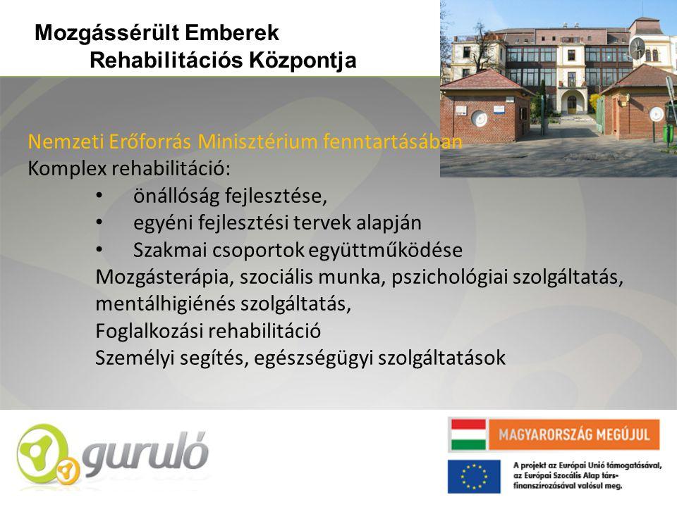 Nemzeti Erőforrás Minisztérium fenntartásában Komplex rehabilitáció: • önállóság fejlesztése, • egyéni fejlesztési tervek alapján • Szakmai csoportok együttműködése Mozgásterápia, szociális munka, pszichológiai szolgáltatás, mentálhigiénés szolgáltatás, Foglalkozási rehabilitáció Személyi segítés, egészségügyi szolgáltatások Mozgássérült Emberek Rehabilitációs Központja