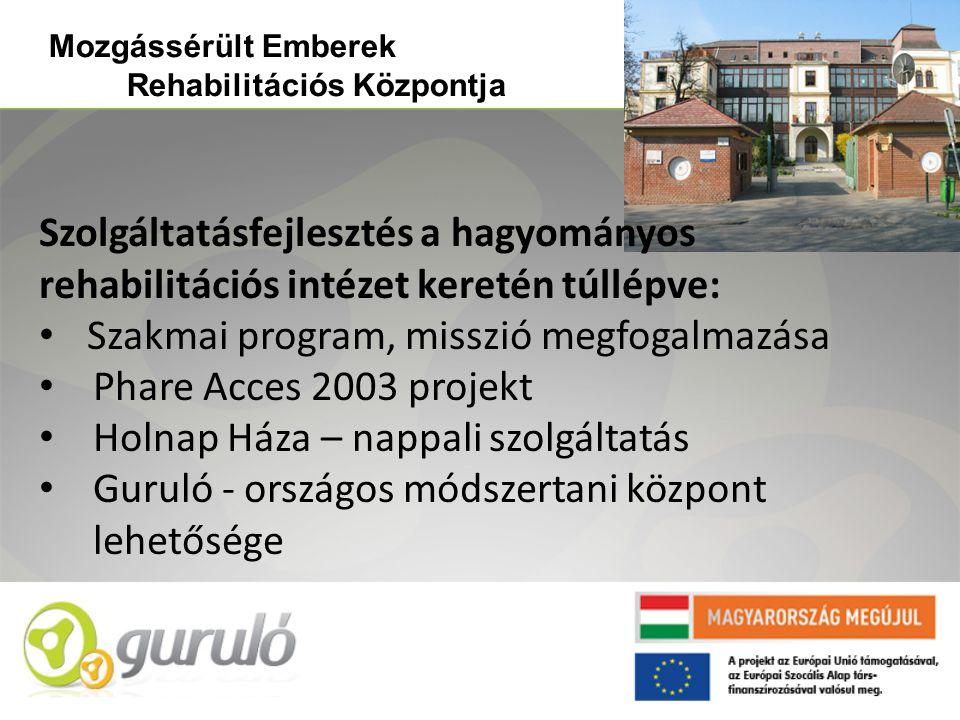 Szolgáltatásfejlesztés a hagyományos rehabilitációs intézet keretén túllépve: • Szakmai program, misszió megfogalmazása • Phare Acces 2003 projekt • H