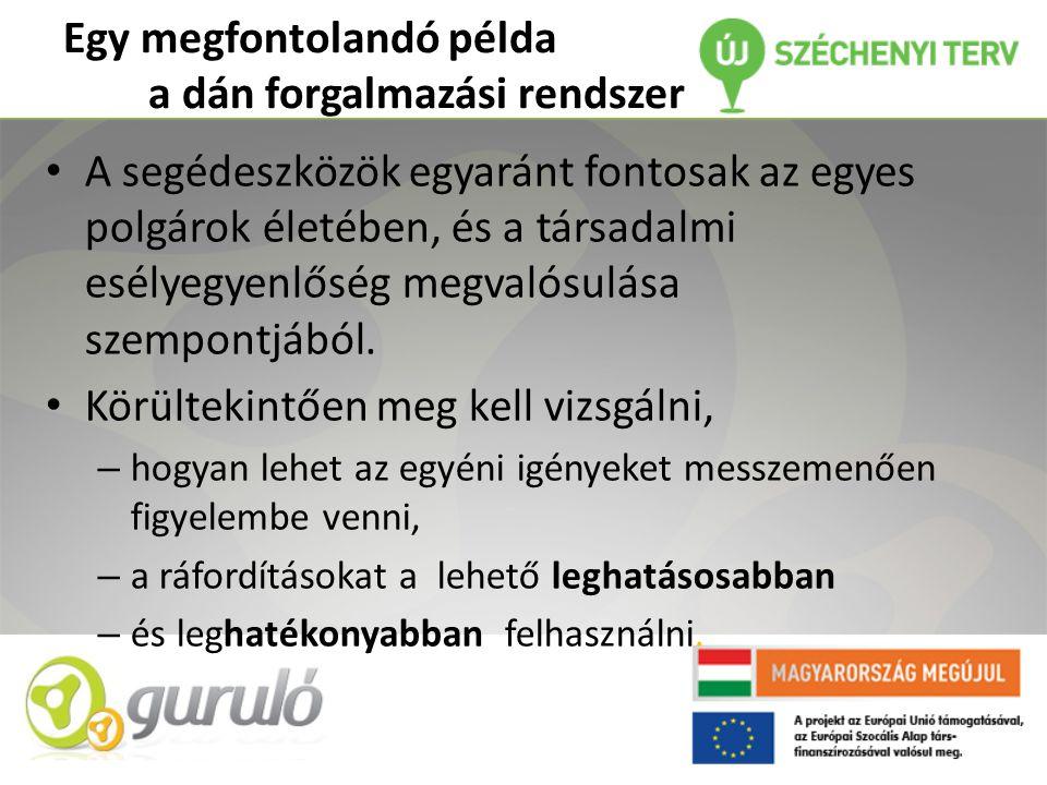 Egy megfontolandó példa a dán forgalmazási rendszer • A segédeszközök egyaránt fontosak az egyes polgárok életében, és a társadalmi esélyegyenlőség megvalósulása szempontjából.