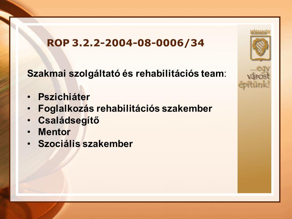 ROP 3.2.2-2004-08-0006/34 Szakmai szolgáltató és rehabilitációs team: •Pszichiáter •Foglalkozás rehabilitációs szakember •Családsegítő •Mentor •Szociá