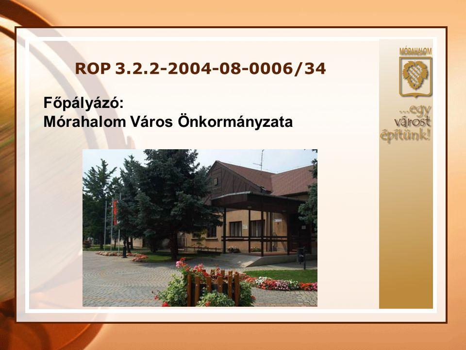 ROP 3.2.2-2004-08-0006/34 Támogatásban részesülő partnereink: •Móra Ferenc Általános Művelődési Központ •Esély Szociális Magánalapítvány •Móra-Vitál Közhasznú Társaság Közreműködő támogató partnerünk: •Mórahalmi Gondozási Központ Egyéb támogató partnereink: •Homokháti Önkormányzatok Kistérségfejlesztő Társulása •Csongrád Megyei Munkaügyi Központ Mórahalmi Kirendeltsége