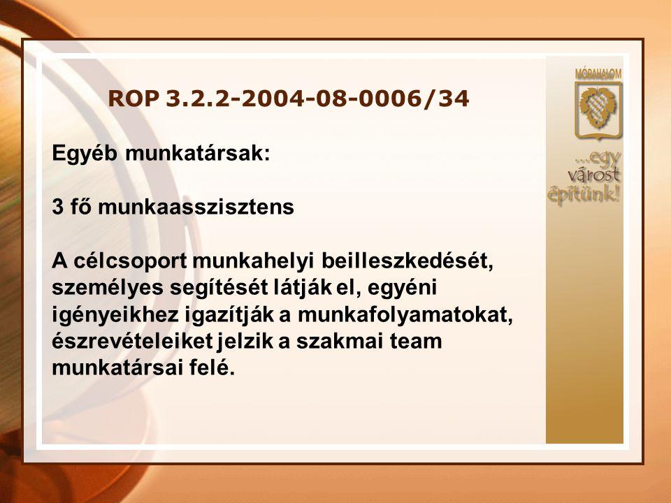 ROP 3.2.2-2004-08-0006/34 Egyéb munkatársak: 3 fő munkaasszisztens A célcsoport munkahelyi beilleszkedését, személyes segítését látják el, egyéni igén