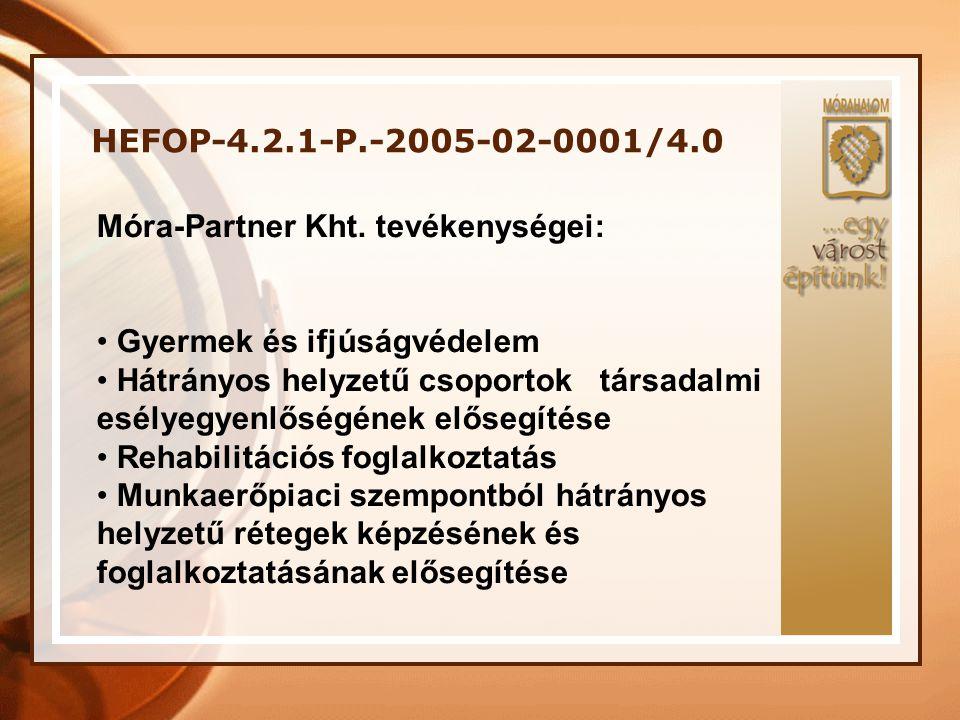 HEFOP-4.2.1-P.-2005-02-0001/4.0 Móra-Partner Kht. tevékenységei: • Gyermek és ifjúságvédelem • Hátrányos helyzetű csoportok társadalmi esélyegyenlőség