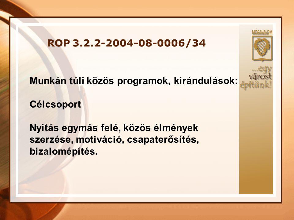 ROP 3.2.2-2004-08-0006/34 Megvalósítás tapasztalatai: Problémák: • Pénzügyi kifizetések elhúzódása • Adminisztrációs teher • Célcsoport tagok programba tartása • Képzés elhúzódása miatt a képzés és a munka összemosódott