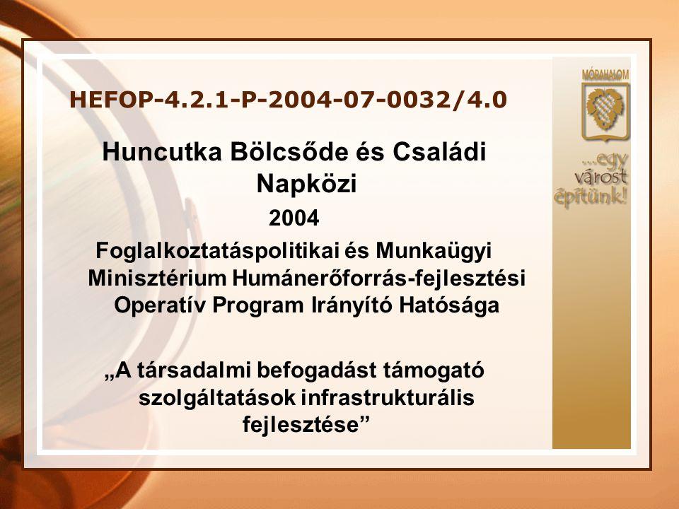 HEFOP-4.2.1-P-2004-07-0032/4.0 Projekt megvalósításának helyszíne: Dél-alföldi Régió, Homokháti Kistérség, Mórahalom A szerződő hatóságtól elnyert támogatás összege: 50.592.563 Ft A projekt időtartama: 14 hónap A pályázat megvalósításának kezdete: 2005.04.01 A pályázat befejezésének időpontja: 2006.06.30
