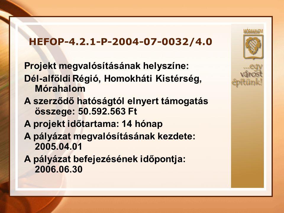 HEFOP-4.2.1-P-2004-07-0032/4.0 A Projekt megvalósításában résztvevő szakemberek: Projektmenedzsment: •Projektvezető •Szakmai vezető •Pénzügyi vezető •Projektasszisztens