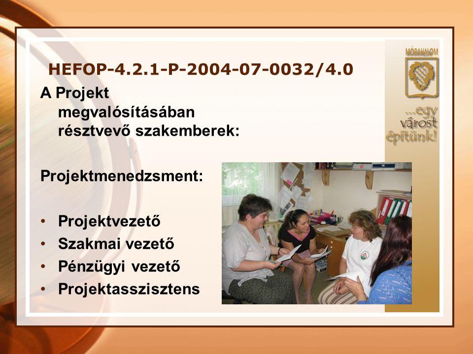 HEFOP-4.2.1-P-2004-07-0032/4.0 A Projekt megvalósításában résztvevő szakemberek: Projektmenedzsment: •Projektvezető •Szakmai vezető •Pénzügyi vezető •