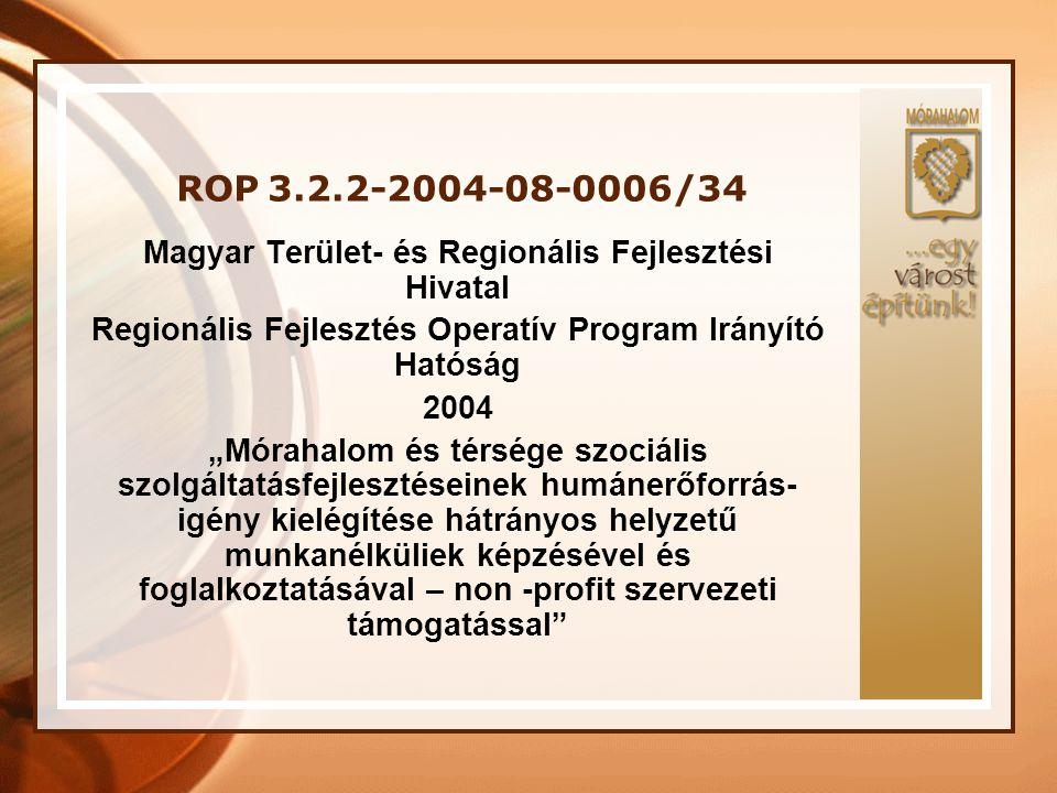 ROP 3.2.2-2004-08-0006/34 Projekt megvalósításának helyszíne: Dél-alföldi Régió, Homokháti Kistérség, Mórahalom A szerződő hatóságtól elnyert támogatás összege: 57 388 400 Ft A projekt időtartama: 24 hónap A pályázat megvalósításának kezdete: 2005.