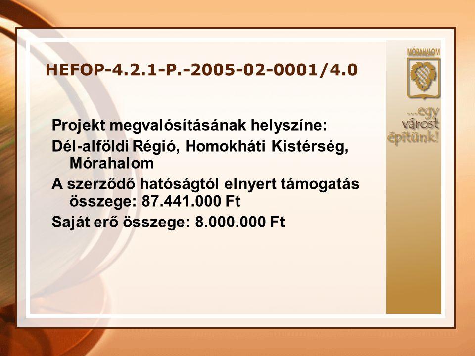 HEFOP-4.2.1-P.-2005-02-0001/4.0 Projekt megvalósításának helyszíne: Dél-alföldi Régió, Homokháti Kistérség, Mórahalom A szerződő hatóságtól elnyert tá