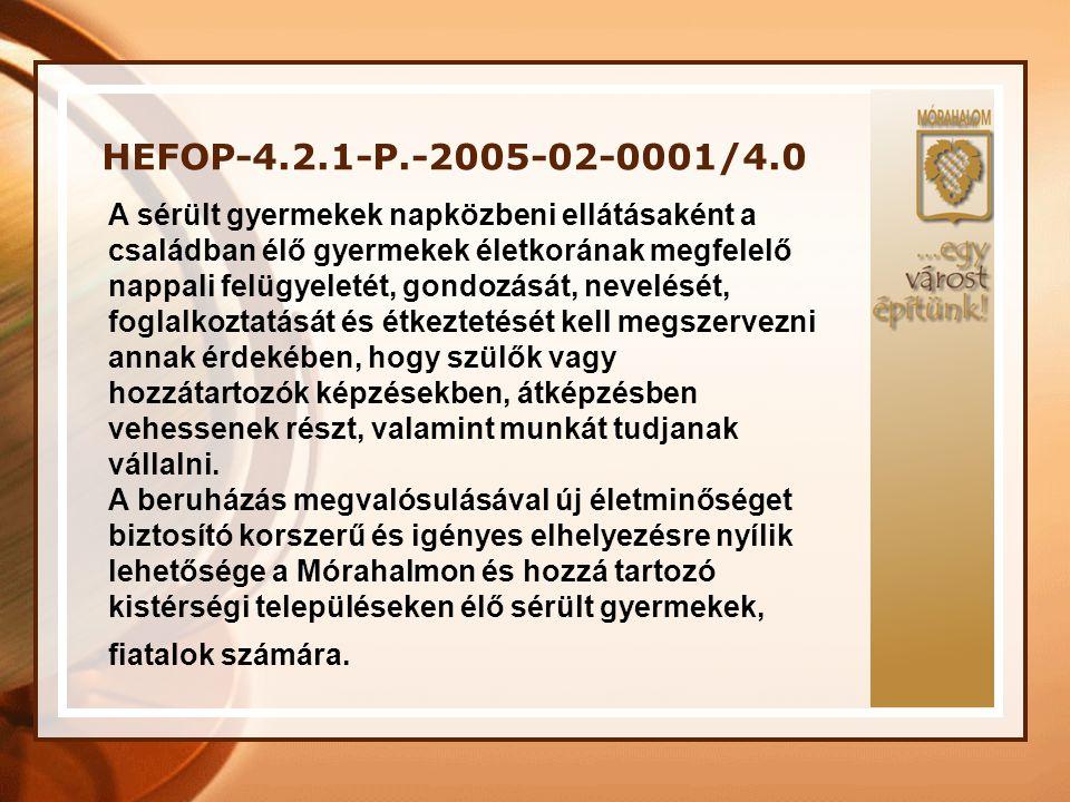 HEFOP-4.2.1-P.-2005-02-0001/4.0 A sérült gyermekek napközbeni ellátásaként a családban élő gyermekek életkorának megfelelő nappali felügyeletét, gondo