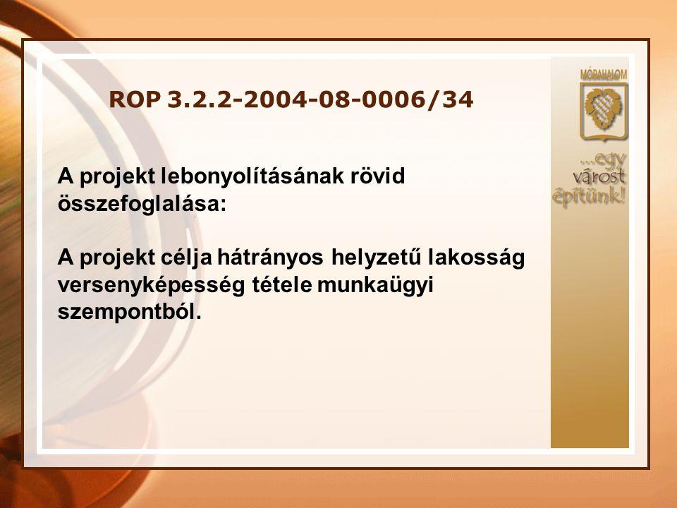 ROP 3.2.2-2004-08-0006/34 A program keretében • 20 fő munkanélküli ember képzése • OKJ Képzések: gyermek- és ifjúság felügyelői szociális gondozó és ápoló • 13 fő foglalkoztatását tudjuk biztosítani egy évig