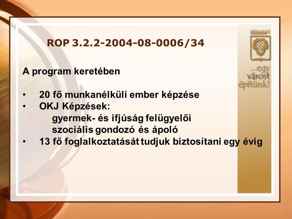 ROP 3.2.2-2004-08-0006/34 A program keretében • 20 fő munkanélküli ember képzése • OKJ Képzések: gyermek- és ifjúság felügyelői szociális gondozó és á