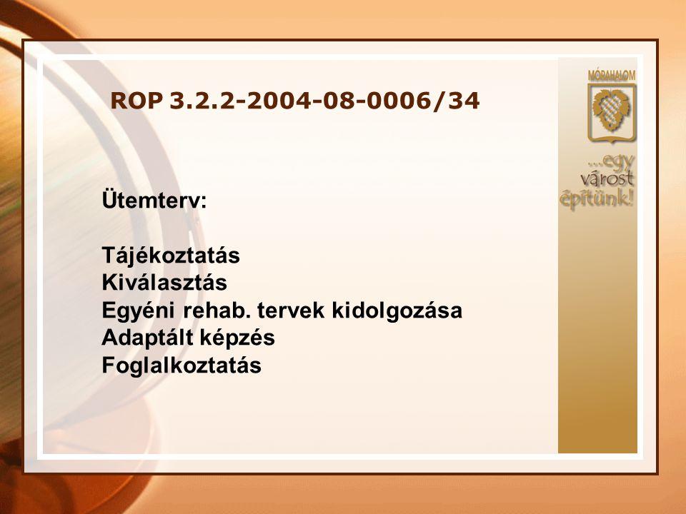 ROP 3.2.2-2004-08-0006/34 Ütemterv: Tájékoztatás Kiválasztás Egyéni rehab. tervek kidolgozása Adaptált képzés Foglalkoztatás