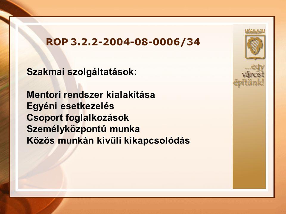 ROP 3.2.2-2004-08-0006/34 Szakmai szolgáltatások: Mentori rendszer kialakítása Egyéni esetkezelés Csoport foglalkozások Személyközpontú munka Közös mu