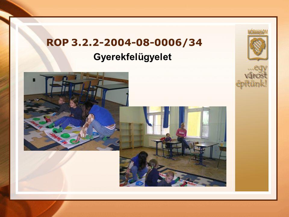 ROP 3.2.2-2004-08-0006/34 A projekt megvalósításában részt vevő szakemberek: Projektmenedzsment: •Projektvezető •Projekt asszisztens •Pénzügyi adminisztrátor