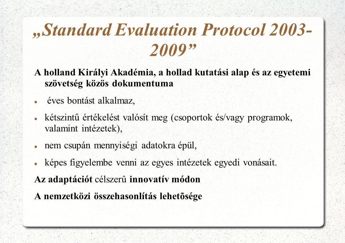 """""""Standard Evaluation Protocol 2003- 2009"""" A holland Királyi Akadémia, a hollad kutatási alap és az egyetemi szövetség közös dokumentuma  éves bontást"""