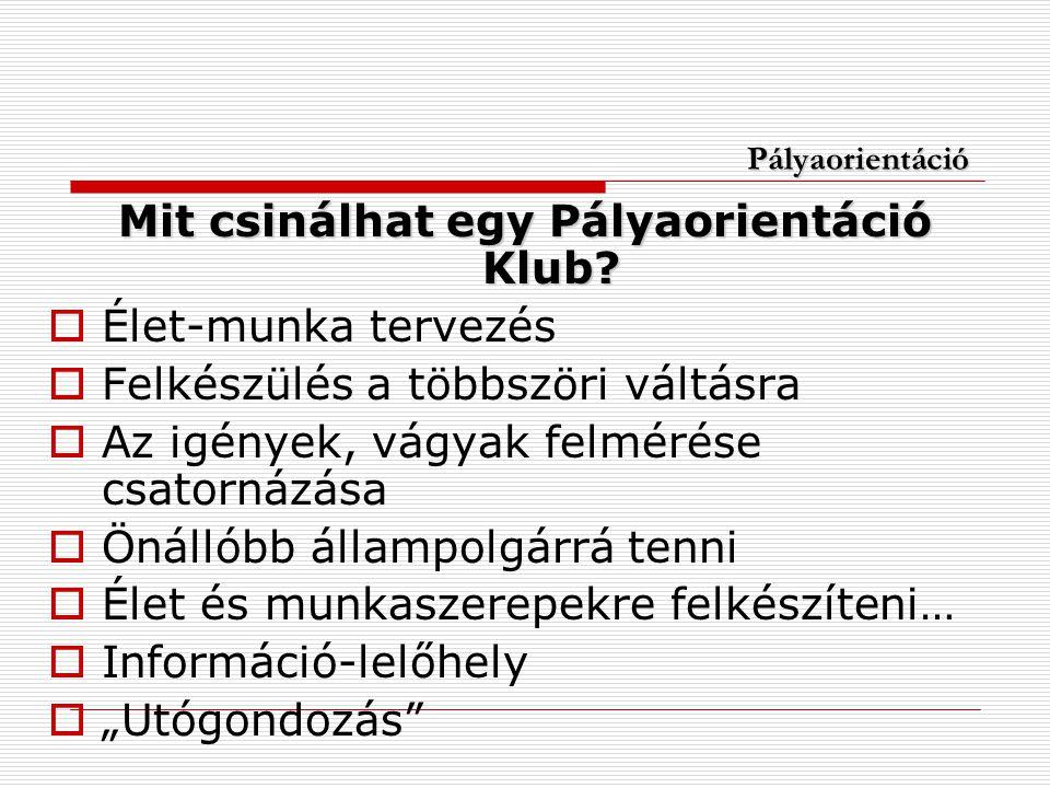 Pályaorientáció Mit csinálhat egy Pályaorientáció Klub.