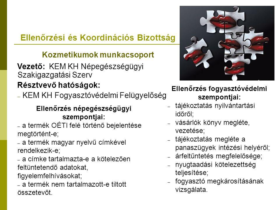 Ellenőrzési és Koordinációs Bizottság Kozmetikumok munkacsoport Vezető: KEM KH Népegészségügyi Szakigazgatási Szerv Résztvevő hatóságok: – KEM KH Fogyasztóvédelmi Felügyelőség Ellenőrzés népegészségügyi szempontjai: – a termék OÉTI felé történő bejelentése megtörtént-e; – a termék magyar nyelvű címkével rendelkezik-e; – a címke tartalmazta-e a kötelezően feltüntetendő adatokat, figyelemfelhívásokat; – a termék nem tartalmazott-e tiltott összetevőt.