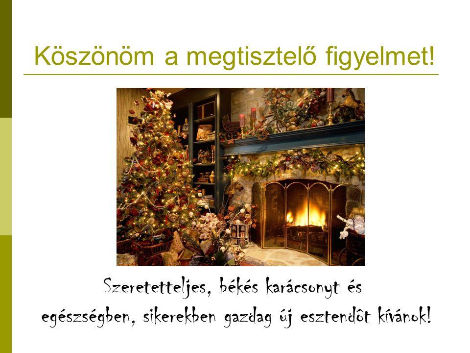Köszönöm a megtisztelő figyelmet! Szeretetteljes, békés karácsonyt és egészségben, sikerekben gazdag új esztendôt kívánok!