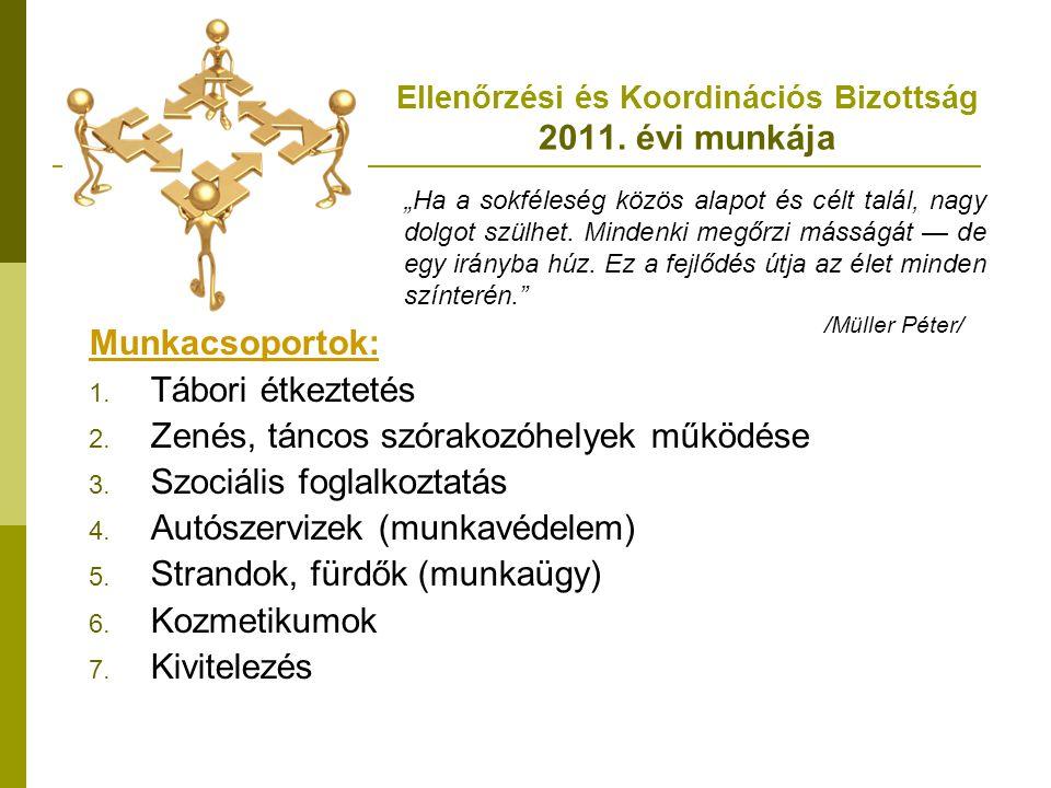 Ellenőrzési és Koordinációs Bizottság 2011. évi munkája Munkacsoportok: 1. Tábori étkeztetés 2. Zenés, táncos szórakozóhelyek működése 3. Szociális fo