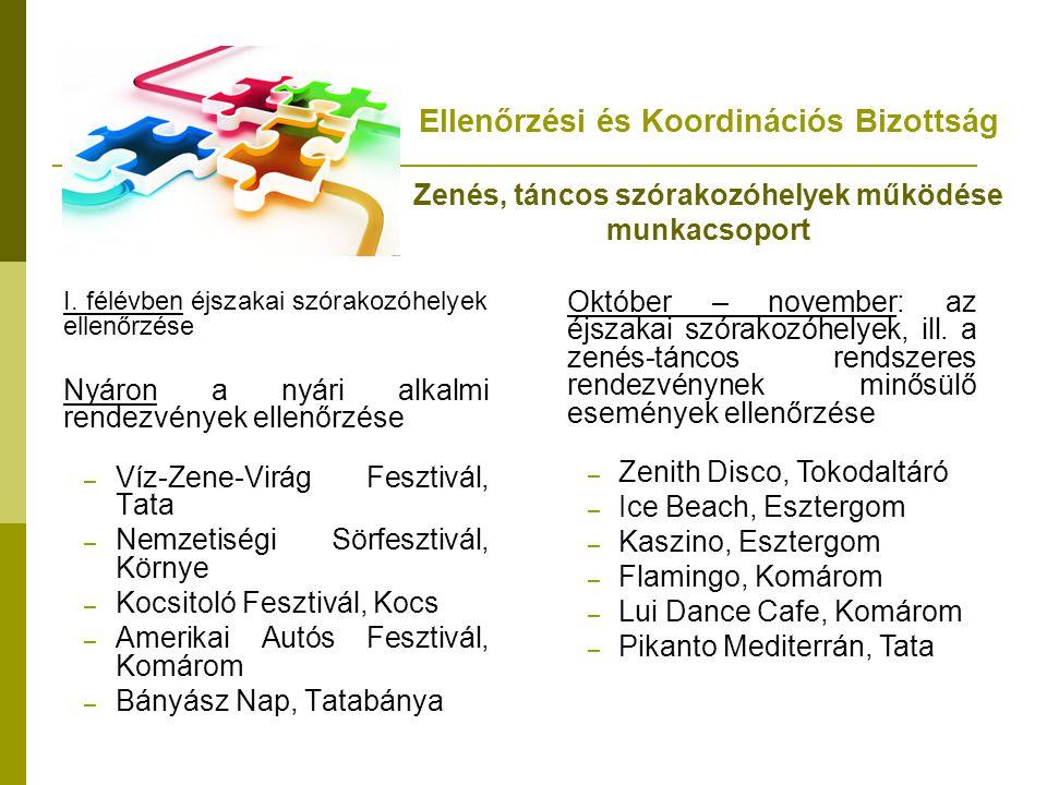 Ellenőrzési és Koordinációs Bizottság Zenés, táncos szórakozóhelyek működése munkacsoport I. félévben éjszakai szórakozóhelyek ellenőrzése Nyáron a ny