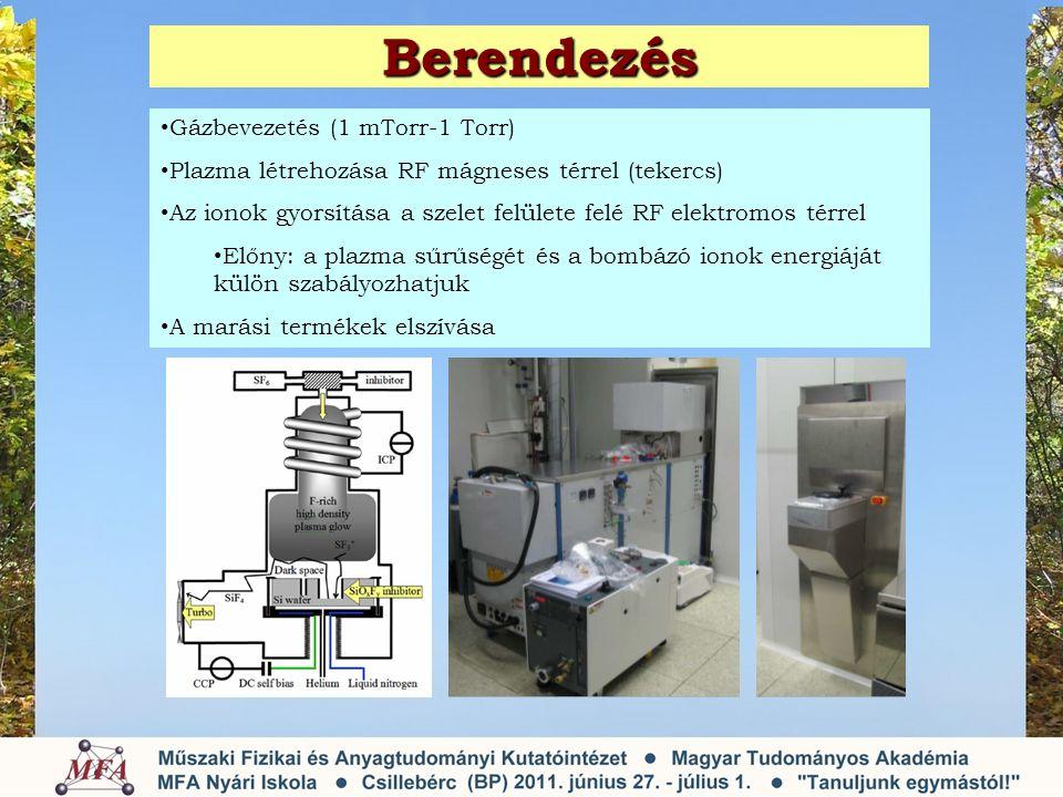 Berendezés • Gázbevezetés (1 mTorr-1 Torr) • Plazma létrehozása RF mágneses térrel (tekercs) • Az ionok gyorsítása a szelet felülete felé RF elektromos térrel • Előny: a plazma sűrűségét és a bombázó ionok energiáját külön szabályozhatjuk • A marási termékek elszívása