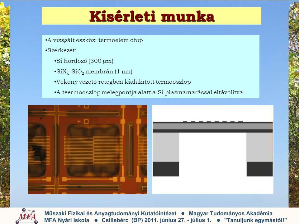 Kísérleti munka • A vizsgált eszköz: termoelem chip • Szerkezet: • Si hordozó (300 µm) • SiN x -SiO 2 membrán (1 µm) • Vékony vezető rétegben kialakított termooszlop • A teermooszlop melegpontja alatt a Si plazmamarással eltávolítva