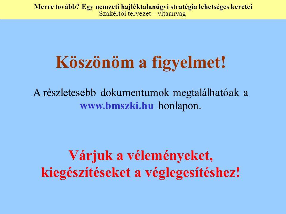 Köszönöm a figyelmet. A részletesebb dokumentumok megtalálhatóak a www.bmszki.hu honlapon.