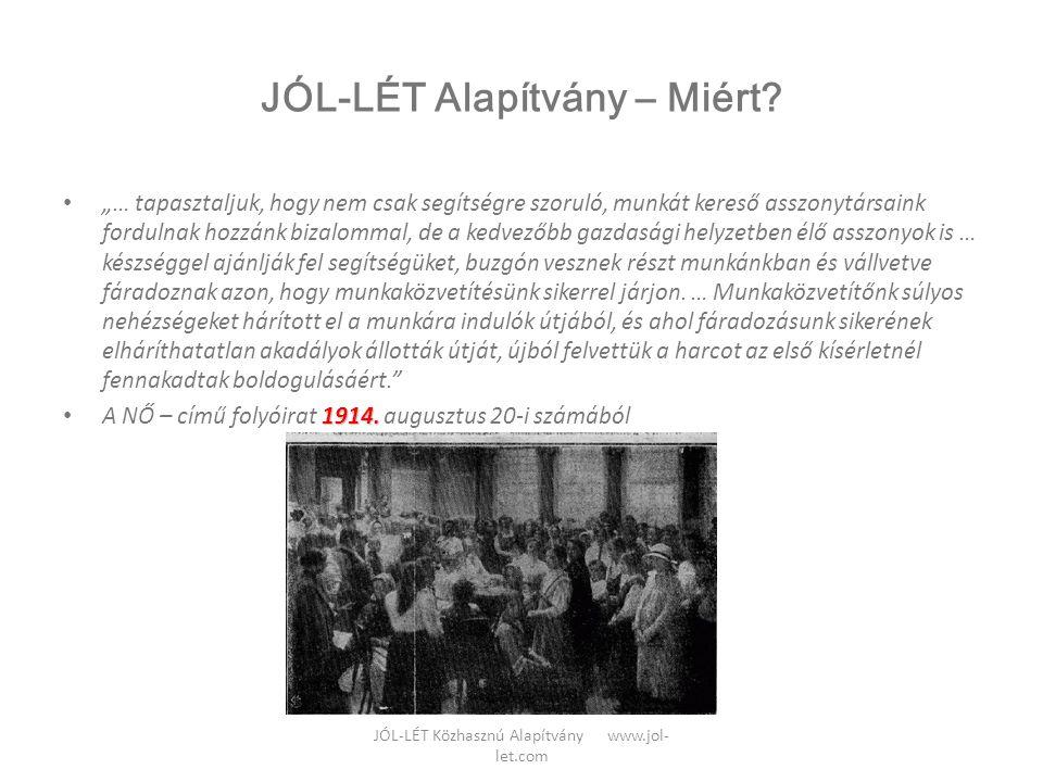 """JÓL-LÉT Közhasznú Alapítvány www.jol- let.com JÓL-LÉT Alapítvány – Miért? • """"… tapasztaljuk, hogy nem csak segítségre szoruló, munkát kereső asszonytá"""