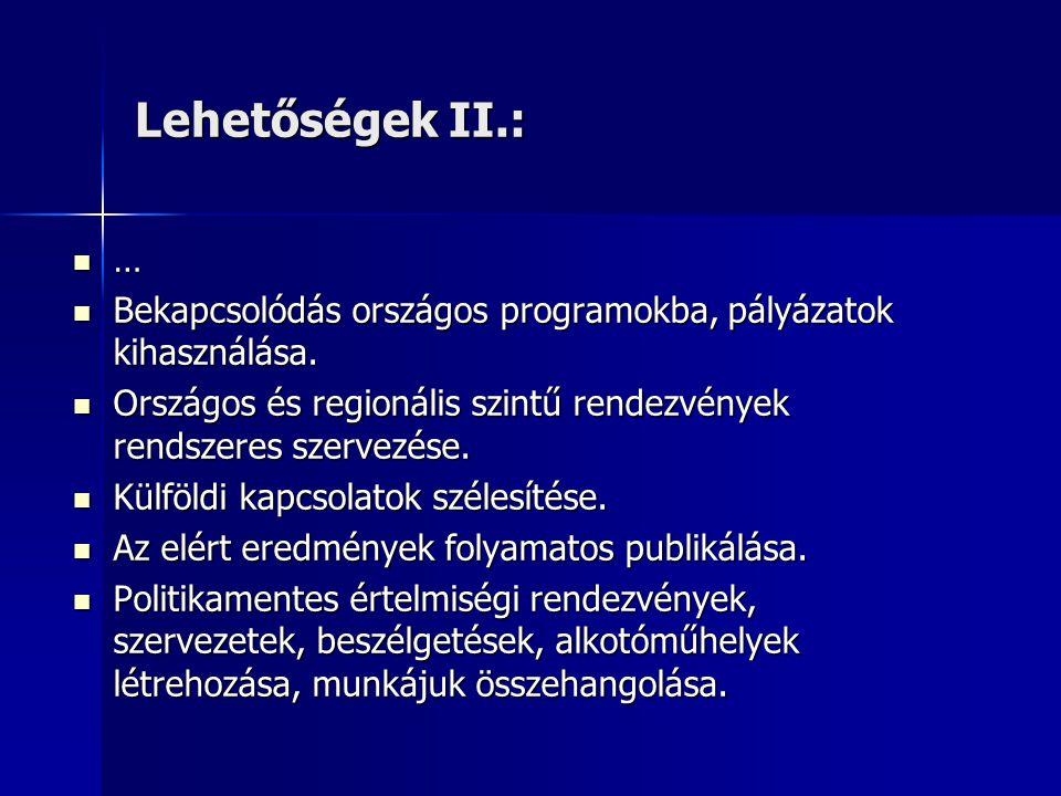 Lehetőségek II.:  …  Bekapcsolódás országos programokba, pályázatok kihasználása.