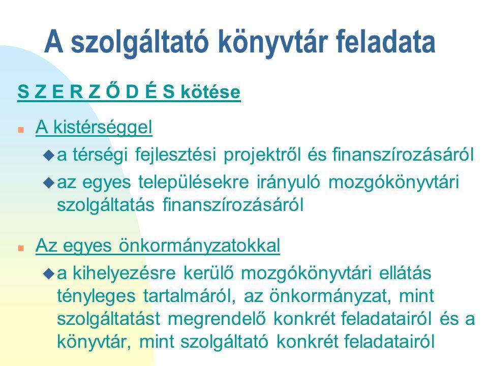 A szolgáltató könyvtár feladata S Z E R Z Ő D É S kötése n A kistérséggel u a térségi fejlesztési projektről és finanszírozásáról u az egyes település