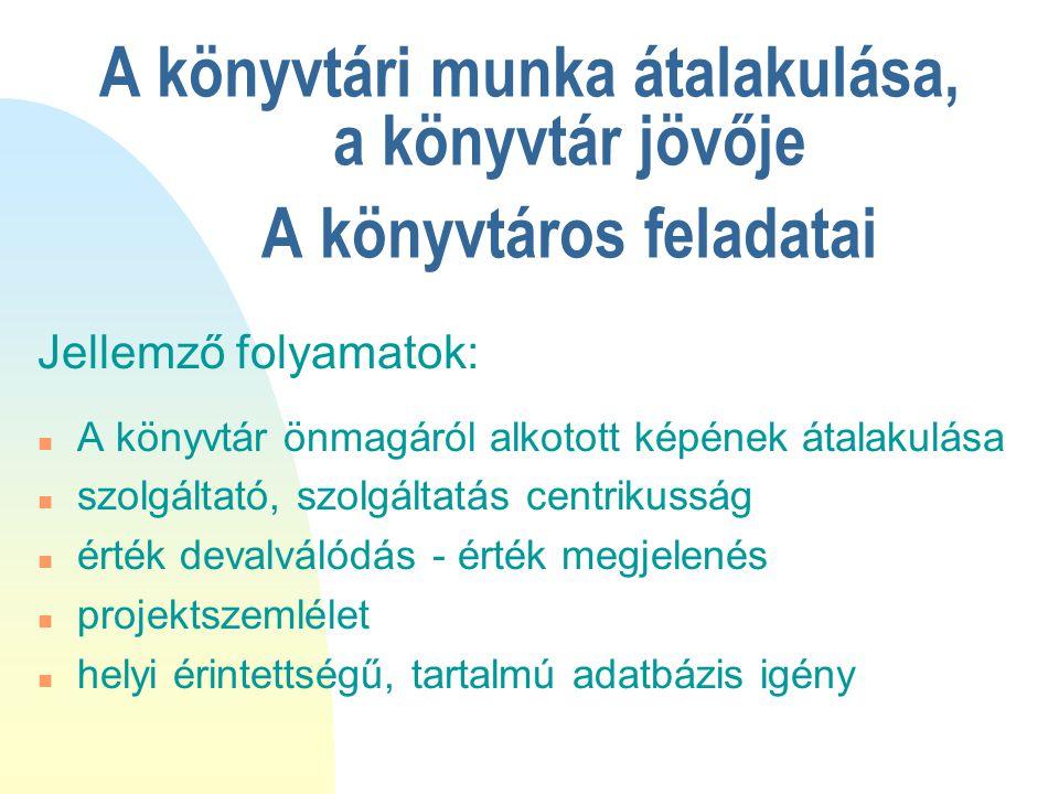 A könyvtári munka átalakulása, a könyvtár jövője A könyvtáros feladatai Jellemző feladatok: n A (potenciális) használók számbavétele n Igénykutatás n Szolgáltatások tértől független szervezése n Együttműködés n Partnerség n helyi érintettségű, tartalmú adatbázis építése