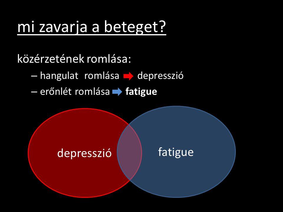 mi zavarja a beteget? közérzetének romlása: – hangulat romlása depresszió – erőnlét romlása fatigue depresszió fatigue