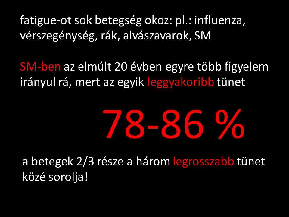fatigue-ot sok betegség okoz: pl.: influenza, vérszegénység, rák, alvászavarok, SM SM-ben az elmúlt 20 évben egyre több figyelem irányul rá, mert az e