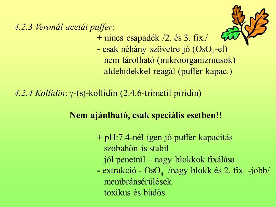 4.2.3 Veronál acetát puffer: + nincs csapadék /2. és 3. fix./ - csak néhány szövetre jó (OsO 4 -el) nem tárolható (mikroorganizmusok) aldehidekkel rea
