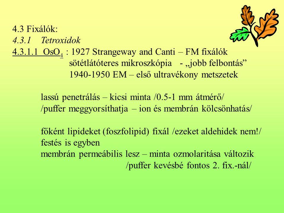 """4.3 Fixálók: 4.3.1Tetroxidok 4.3.1.1 OsO 4 : 1927 Strangeway and Canti – FM fixálók sötétlátóteres mikroszkópia - """"jobb felbontás"""" 1940-1950 EM – első"""