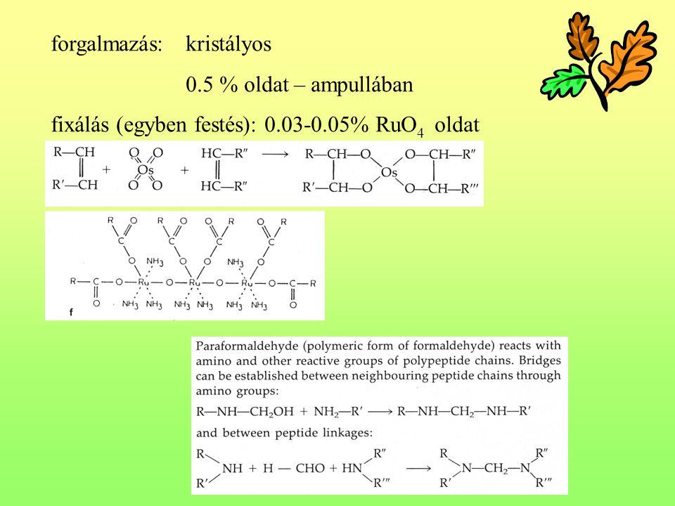 forgalmazás:kristályos 0.5 % oldat – ampullában fixálás (egyben festés): 0.03-0.05% RuO 4 oldat